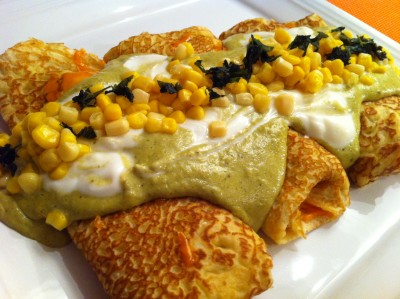 Chicken Stuffed Crêpes with Poblano Sauce