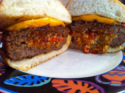 Chipotle Stuffed Bronto Burgers