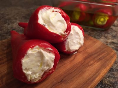 Red Jalapeño Peppers Stuffed with Cream Cheese and Feta